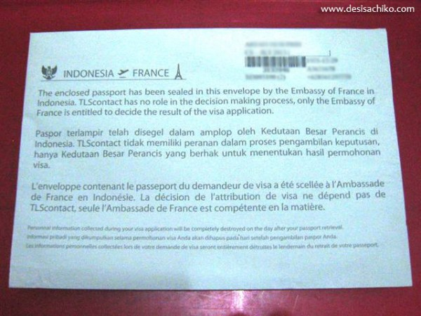 Amplop berisi paspor yang dikembalikan oleh kedutaan Perancis. (Foto koleksi pribadi)